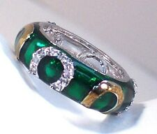 GREEN Enameled Good Luck RING w Gold & Silver CZ Pave Horseshoe Accents Size 10
