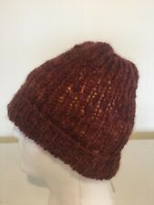 Knitted 100% Handspun Sheep Wool Beanie RUST-  Size Medium