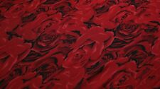 PRINTED NETTING FABRIC - ROSE DESIGN - 2 WAY STRETCH - RED COLOUR
