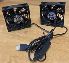 More details for eluteng usb fan 80mm 2 in 1 computer fan 5v 80 mm fan 2700rpm 32cfm dual usb pc