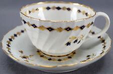 Flight Worcester Cobalt & Gilt Floral & Diamond Tea Cup & Saucer C 1783 - 1792 A