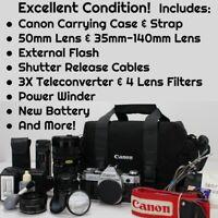 Canon AE-1 Program SLR 35mm Film Camera w/ accessories, EXCELLENT CONDITION