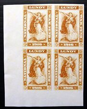 GB Original GERALD KING Lundy 1916 War Tax Imperf Block of 4 U/M NB2664