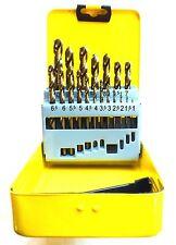 COBALT DRILL SET 19 PIECE SET IN TIN 1mm - 10mm ADDAX COBALT JOBBER DRILL SET