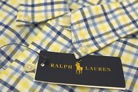 NEW $98 Polo Ralph Lauren Oxford Long Sleeve Shirt Mens Yellow Blue Plaid NWT