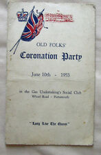 PORTSMOUTH EPHEMERA 1953 OLD FOLKS CORONATION PARTY GAS SOCIAL CLUB WHARF ROAD