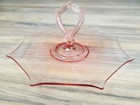 Vintage pink center handle octagon depression glass serving cookie pastry tray