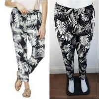 NEW EX F&F BLACK Leaf Print Tapered Trousers Casual Holiday Size 6-22