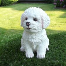Gartenfigur Hund Welpe Malteser Bichon Frise 3243 Garten Deko lebensecht Figur