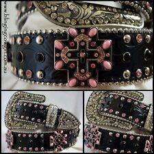 Ladies Black & Pink Embossed Black Genuine Leather Belt Cross Concho #Cowgirl
