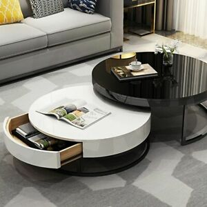 Modern Round Table Minimalist Tea Coffee Table TV Cabinet Small Tempered Glass