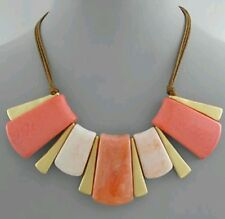 Gorgeous coral resin short statement necklace