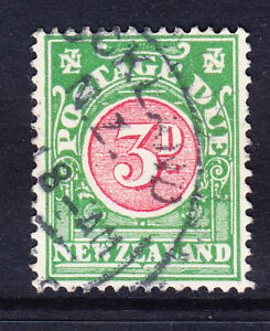 NEW ZEALAND 1928 SGD36 3d Postage Due Carmine & green P14 fine used. Cat £50
