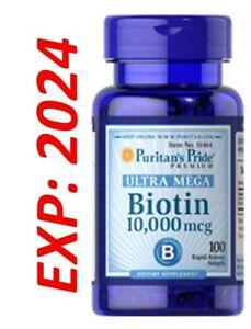 Biotin 10000mcg maximum strength 100 softgels USA VITAMIN FOR HAIR One a Day2024