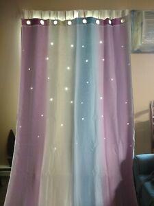 "Hookless Stall Shower Curtain w/ Liner 53"" x 108"" Long Pastel Sheer Pastel Stars"