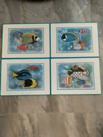 Vtg Pimpernel Maria Ryan Tropical Fish Cork Backed Placemats Set of 4