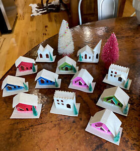 Vintage Putz House Christmas Sears Lighted Village Japan Red, Pink, Green & Blue