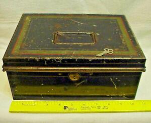 Antique Vtg Black Enamel Tin METAL Cash Strong Box Deed Titles Stenciled w Key