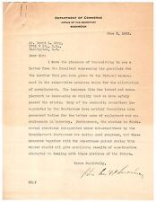 Herbert Hoover - Typed Letter Signed - Helps Alleviate Unemployment Rate in 1922