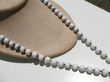 VTG. MUTED NAVY BLUE WHITE MILK GLASS PICASSO ROUND 8 MM.BEADS KNOTTED NECKLACE