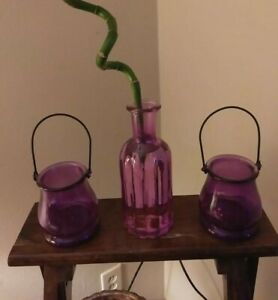 2 PURPLE cauldron GLASS jars with Metal Handles, and 1 light purple glass bottle