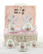 Delton Children's Porcelain Tea Set for 2-Medium Size-Pink Rose #8116-8