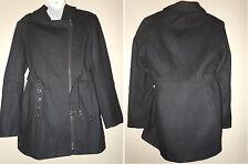 Buffalo David Bitton Womens Blazer Jacket Coat Full Zip Belt Lining Black Large