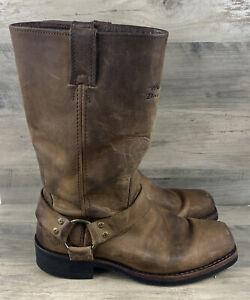 Harley Davidson Men's Brown Leather Harness Biker Boots Shoes US Size 8