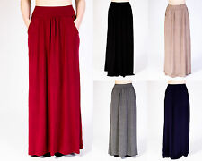 LADIES WOMENS PLAIN PLEATED ELASTICATED WAIST LONG MAXI SKIRT (POCKET)