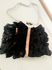 Karen Millen Black Lace Clutch Bag With Silver Chain