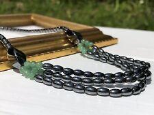"Elegant Dark Hematite Round Jade Beads Necklace 17"" Long Screw Barrel Clasp"