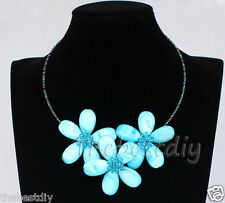 Blue Sea Shell Crystal flower necklace Wedding Woman Christmas Jewelry