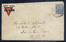 WWI India Cover - Army Work, YMCA Cachet - SC 99 KGV - to San Antonio, Texas*
