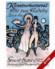 NORWEGIAN ARTIST CARNEVAL LATE 1800S PARTY POSTER PAINTING REAL CANVASART PRINT