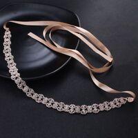 Vintage Bridal Sash Ribbon Rhinestone Pearl Crystal Wedding Dress  Belt Fashion