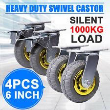 """4X 6"""" / 150mm Heavy Duty Swivel Caster Wheels Castor 1000KG Load,2 with Brakes"""