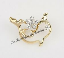 BROCHE METAL DORE FORME DAUPHIN AVEC STRASS TRANSPARENT AG6 - BIJOUX