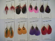 Native American Goose Feather Earrings In Gold, Sliver & 925 Silver Hand Made