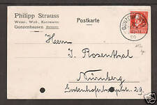 Bavaria Mi 115Ac on 1920 Post Card, GUNZENHAUSEN CDS