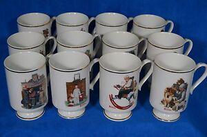Set Of 12  Norman Rockwell Mugs - The Danbury Mint 1981