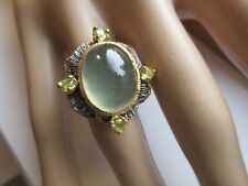ARTISAN CRAFTED 16X12MM GREEN PREHNITE & GREEN PERIDOT RING 925 STERLING SZ/6
