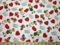 Valentine Day Hearts Vintage Sweetheart Kids Cotton Fabric By The HALF YARD BTYH