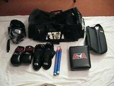 Youth 10 Piece Medium Black Ata Sparring Gear With Carrying Bag Very Nice