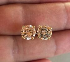 Mens Ladies 3.87 ct. Lab Diamond 18K Gold Filled Screw Back Stud Earrings 10mm