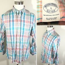 Brooks Brothers Mens Plaid Check Irish Linen L/S Button-Down Sz L Shirt