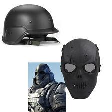SWAT Tactical Military Full Face Skull Mask +Helmet Set CS Game Airsoft Painball