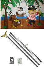 3x5 Jolly Roger Pirate Kid Boy Treasure Island Flag Aluminum Pole Kit Set 3'x5'