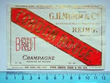 Vecchia etichetta old label vino wine Champagne Mumm Reims Cordon Rouge