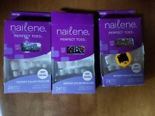 LOT OF THREE GLUE ON NAILS NAILENE PERFECT TOES PEDICURE SETS WITH NAIL ART