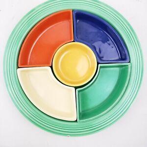 Vintage Fiesta (Fiestaware) Relish Tray / All 6 Original Colors / Green Base
